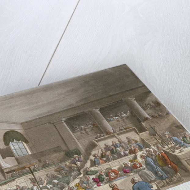 Interior view of the Sessions House, Old Bailey, with a court in session, City of London by Augustus Charles Pugin