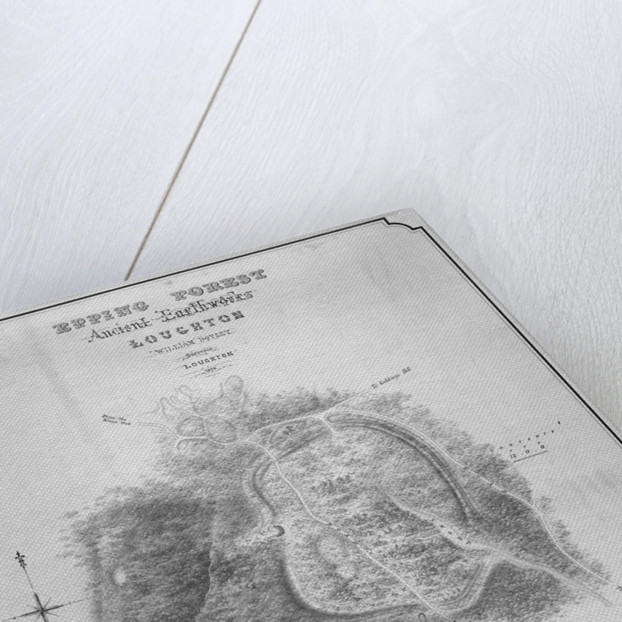 Map of the ancient earthworks at Loughton Camp made around AD 52 in Epping Forest, Essex by William d'Oyley
