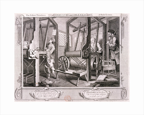 The fellow 'prentices at their looms', plate I of Industry and Idleness by Thomas Allom