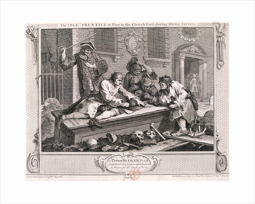 The idle 'prentice at play in the church yard...', plate III of Industry and Idleness 1747 by Anonymous