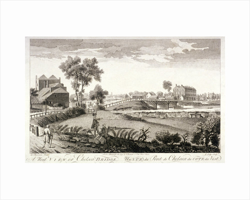 West view of Chelsea Bridge, London by William Lodge
