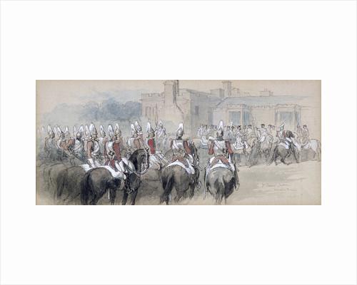 Mounted Escort at St James's Palace, London by Sir John Gilbert