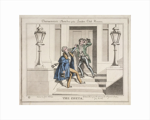 View of two drunken revellers on the steps of Crockford's Club, London by John Phillips