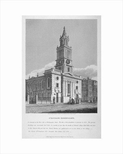 View of the Church of St Botolph without Bishopsgate, City of London by Joseph Skelton