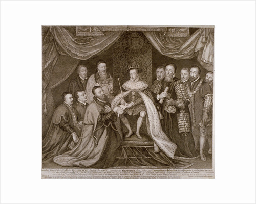 Edward VI signing a charter giving Bridewell to the City of London for a workhouse, 1552 (1750) by George Vertue