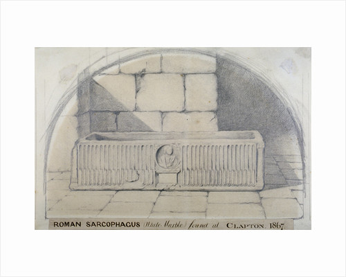 Roman marble sarcophagus found at Clapton in 1867, carved with a medallion relief of figure by Anonymous