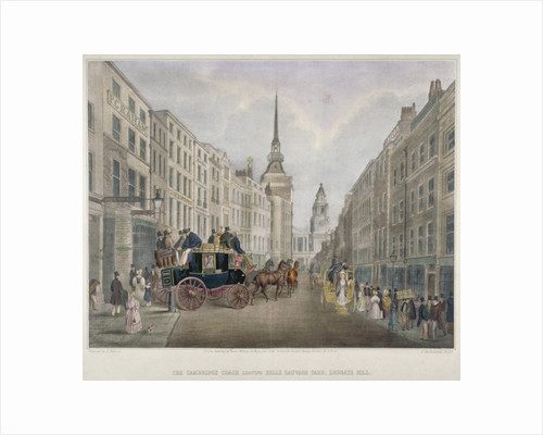 The Cambridge coach leaving the Nelson Inn, Belle Sauvage Yard, Ludgate Hill, London by Thomas Hosmer Shepherd