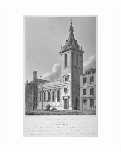 View of St Nicholas Cole Abbey and Knightrider Street, City of London by Joseph Skelton