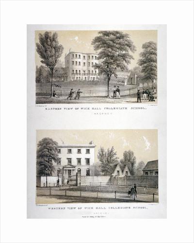 Two views of Wick Hall Collegiate School, Hackney, London by TJ Rawlins