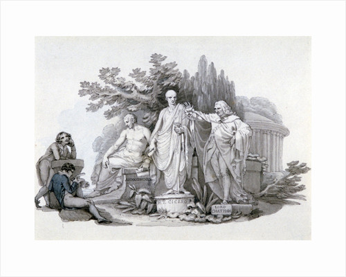 Two Youths contemplating Statues of Demosthenes, Cicero and Pitt by Edward Francis Burney