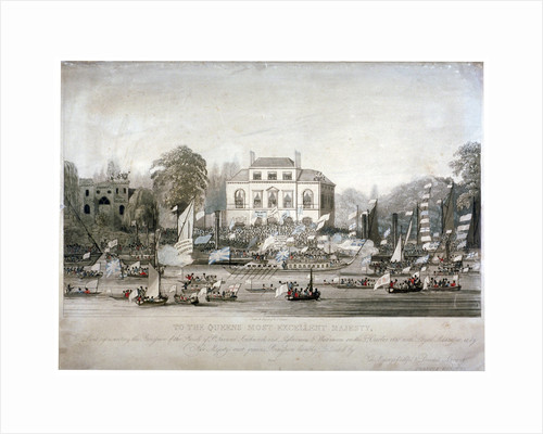 Scene on the Thames at Brandenburgh House, Hammersmith, London by F Vincent