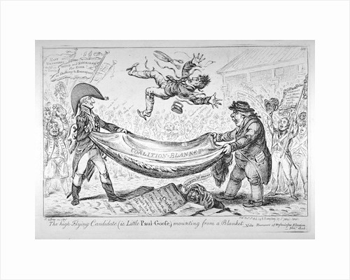 The high-flying candidate, (ie Little Paul-Goose), mounting from a blanket by James Gillray