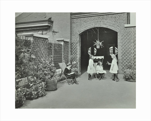 Girls relaxing in a roof top garden, White Lion Street School, London, 1912 by Unknown