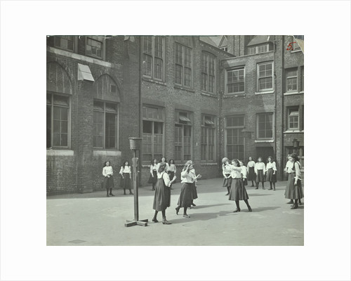 Girls playing netball in the playground, William Street Girls School, London, 1908 by Unknown