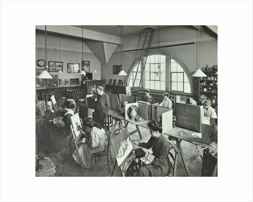 Female students painting still lifes, Hammersmith School of Arts and Crafts, London, 1910 by Unknown