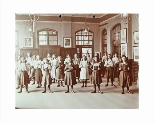 Girls holding Indian clubs, Cromer Street School/ Argyle School, St Pancras, London, 1906 by Unknown