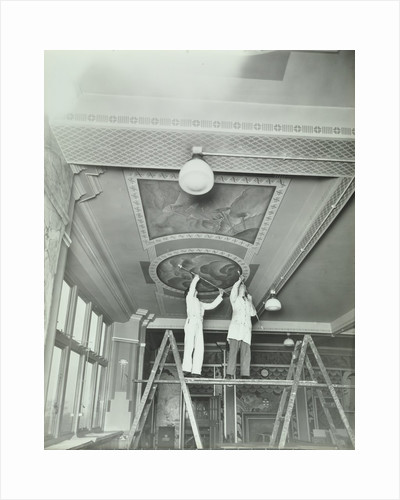 Students painting a design on the ceiling, School of Building, Brixton, London, 1939 by Unknown