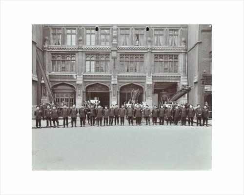 Firemen lined up outside Bishopsgate Fire Station, Bishopsgate, City of London, 1908 by Unknown