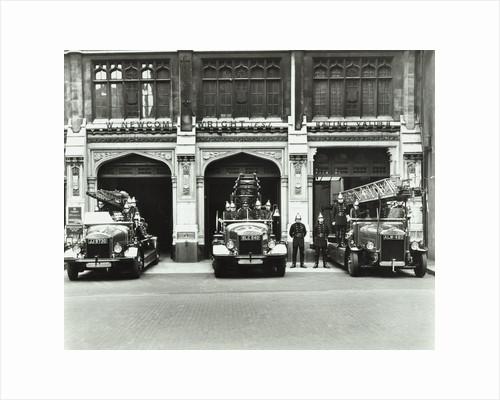Firemen outside Bishopsgate Fire Station, Bishopsgate, City of London, 1908 by Unknown