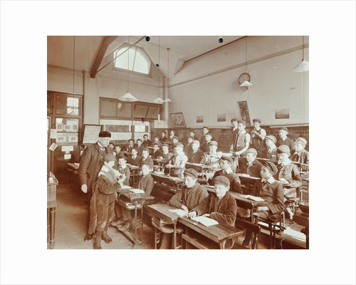 Boys laying the phylacteries, Jews' Free School, Stepney, London, 1908 by Unknown