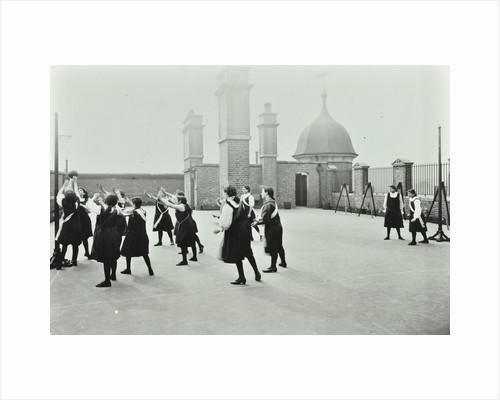 Playing netball, Myrdle Street Girls School, Stepney, London, 1908 by Unknown