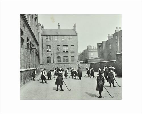 Hockey game, Myrdle Street Girls School, Stepney, London, 1908 by Unknown