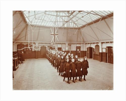Girls returning from play, Thomas Street Girls School, Limehouse, Stepney, London, 1908 by Unknown