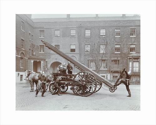 Firemen demonstrating a horse-drawm escape vehicle, London Fire Brigade Headquarters, London, 1910 by Unknown