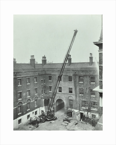 Firemen demonstrating the magirus ladder, London Fire Brigade Headquarters, London, 1910 by Unknown