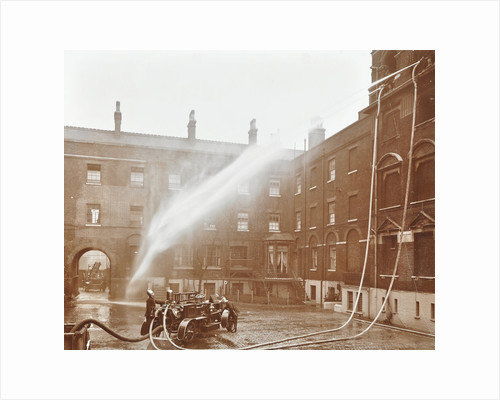 Firemen demonstrating hoses worked by a petrol motor pump, London Fire Brigade Headquarters, 1909 by Unknown