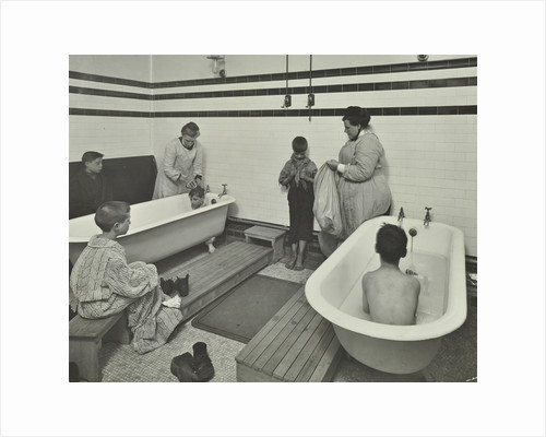 Attendants bathing boys at the Sun Court Cleansing Station, London, 1914 by Unknown