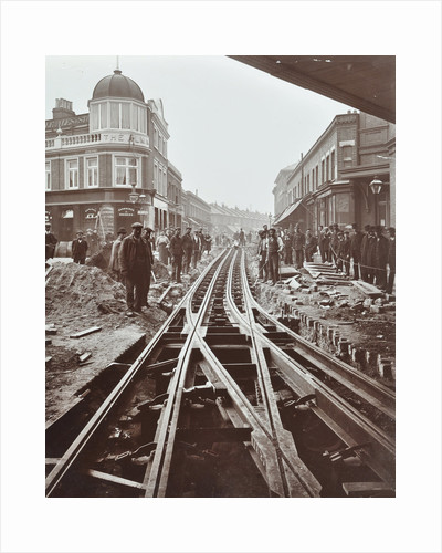 Men working on tramline electricification, Wandsworth, London, 1906 by Unknown