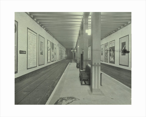 Platform with advertising posters, Holborn Underground Tram Station, London, 1931 by Unknown