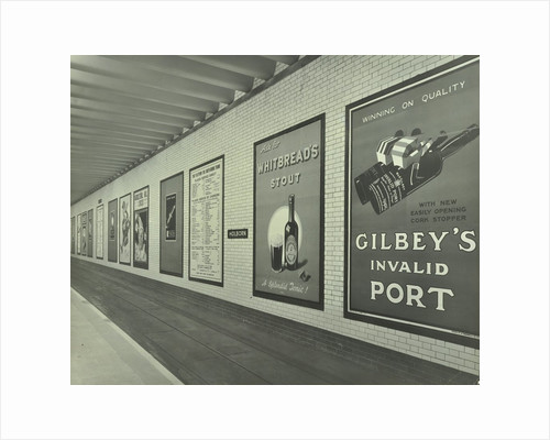 Advertisements for beer and port, Holborn Underground Tram Station, London, 1931 by Unknown
