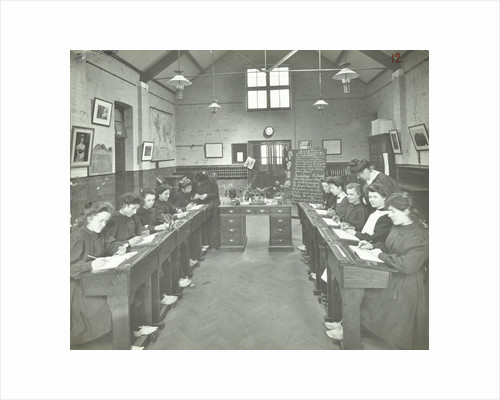 Language lesson on daffodils at Oak Lodge School for Deaf Girls, London, 1908 by Unknown
