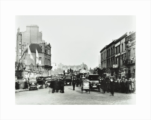 Busy street by Stamford Bridge Stadium, (Chelsea Football Ground), Fulham, London, 1912 by Unknown
