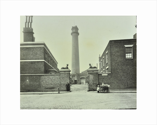 Shot Tower, gates with sphinxes, and milk cart, Belvedere Road, Lambeth, London, 1930 by Unknown