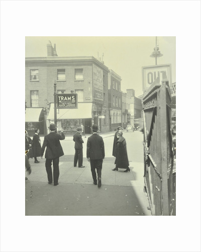 Pedestrians and tram sign outside Waterloo Station, Lambeth, London, 1929 by Unknown