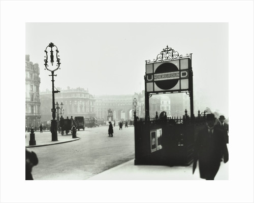 Trafalgar Square with Underground entrance and Admiralty Arch behind, London, 1913 by Unknown