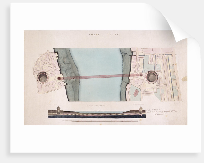 Plan and longitudinal section of the Thames Tunnel, London by Anonymous