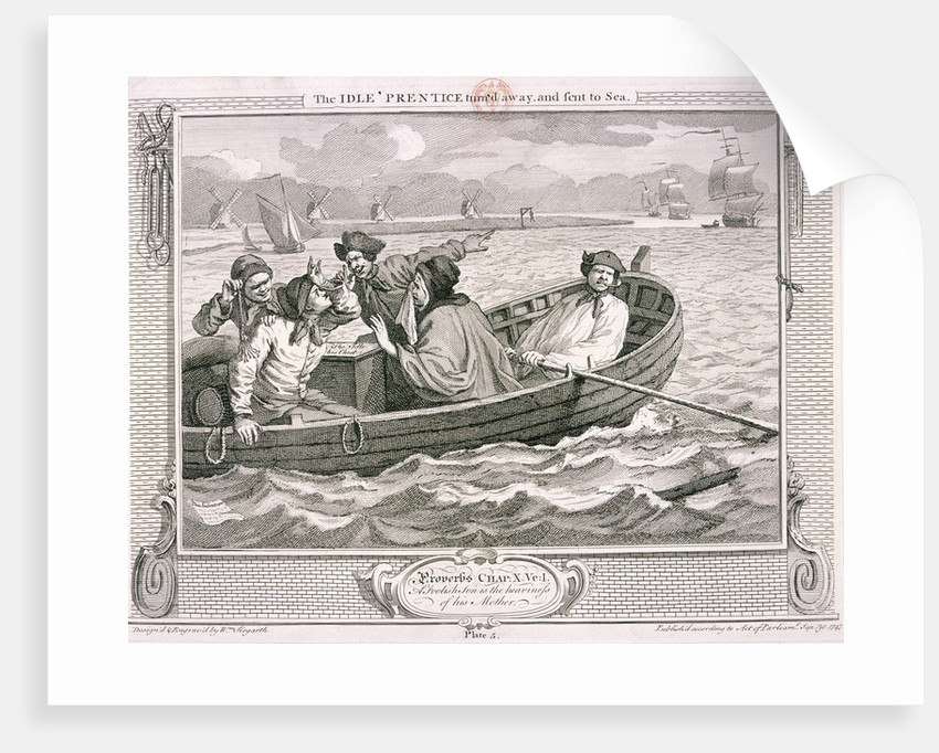 The idle 'prentice turn'd away and sent to sea', plate V of Industry and Idleness by