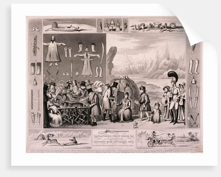 Laplanders on display in the Egyptian Hall, London by Isaac Cruikshank