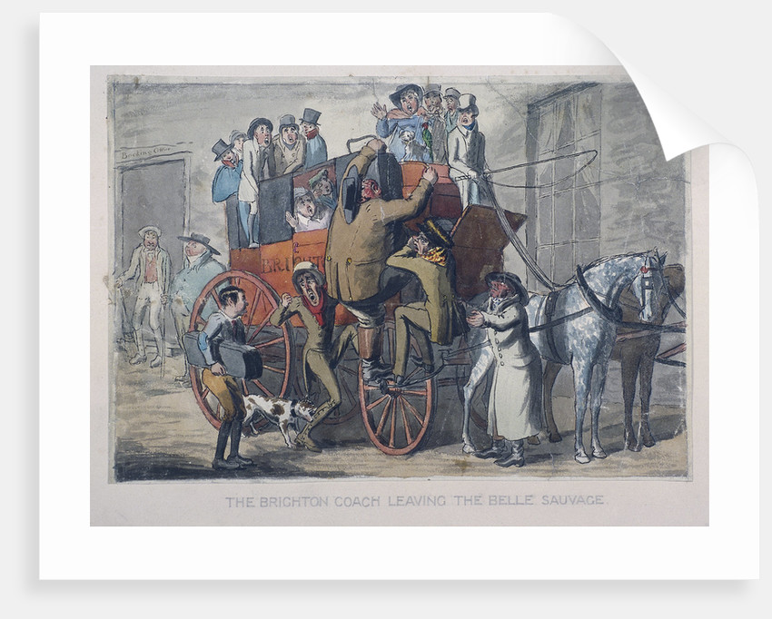 Brighton Coach leaving th Belle Sauvage Inn, London by Anonymous