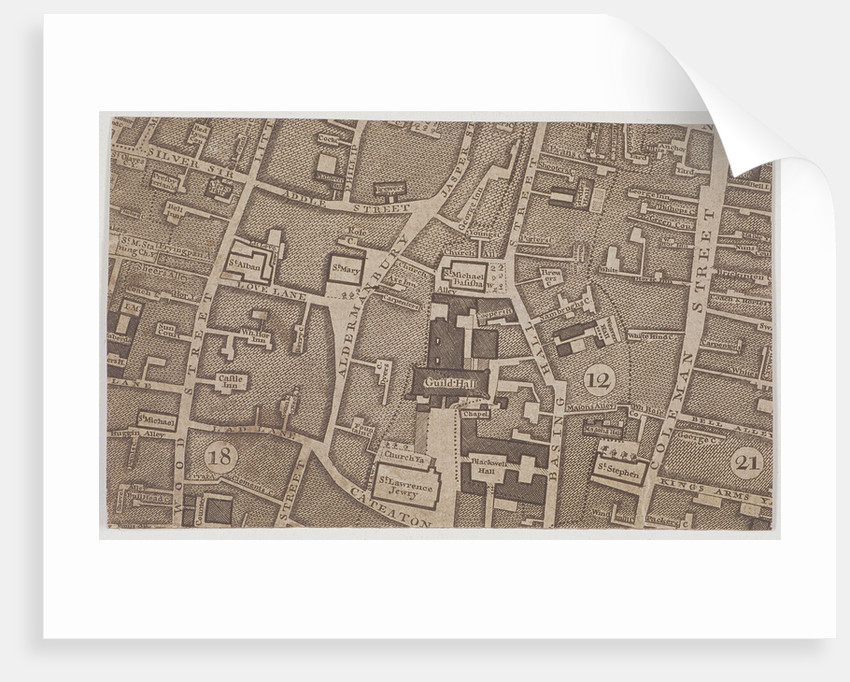 Plan of Guildhall and the neighbourhood around Guildhall, London by