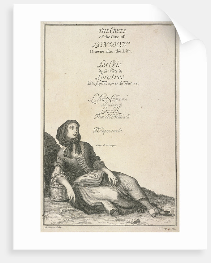 Reclining woman with a basket, Cries of London, (c1688?) by Pierce Tempest