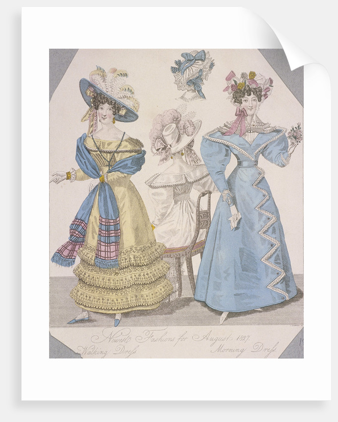 Two women wearing walking dress and morning dress by Anonymous