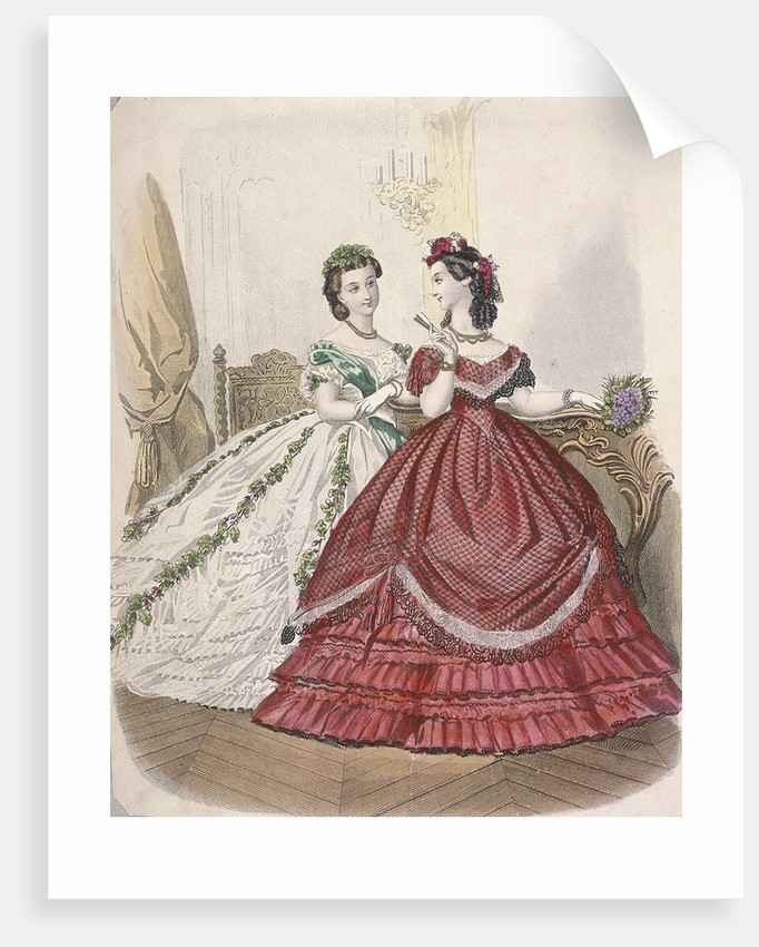 Two women wearing the latest indoor fashions by Anonymous