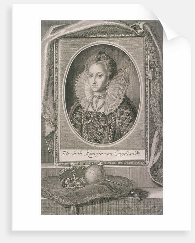 Queen Elizabeth I with crown and orb on a cushion by