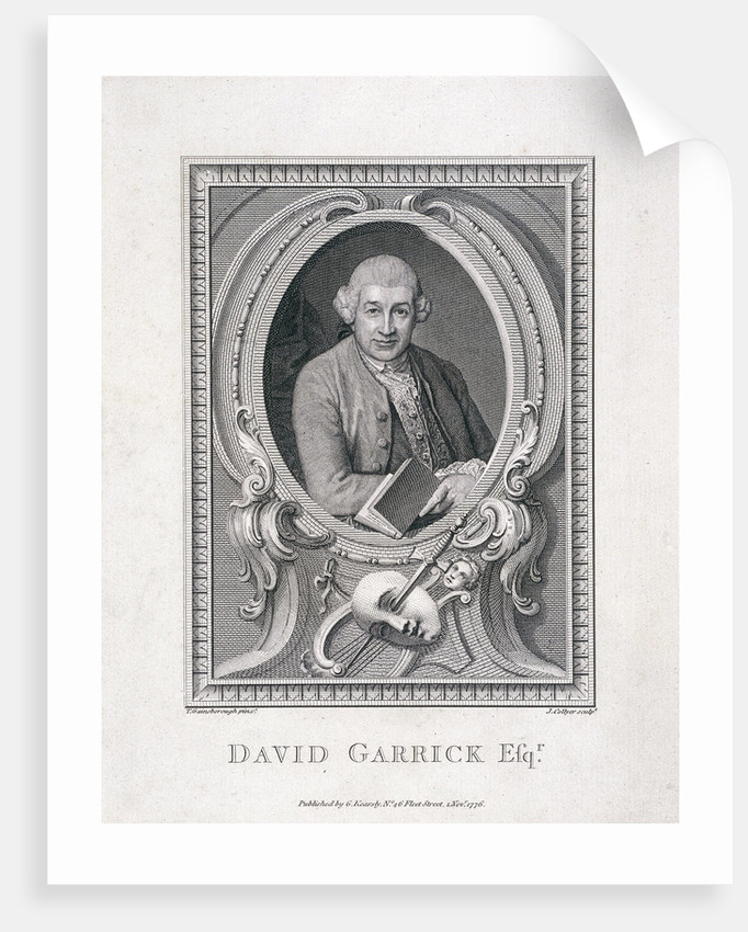Oval portrait of David Garrick by J Collyer