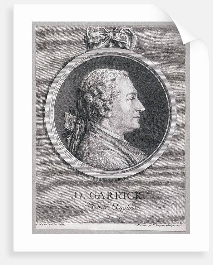 Oval portrait of the actor David Garrick wearing a short wig, with surround by